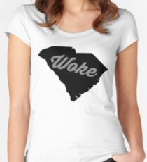 Woke South Carolina - black and white Women's Fitted Scoop T-Shirt