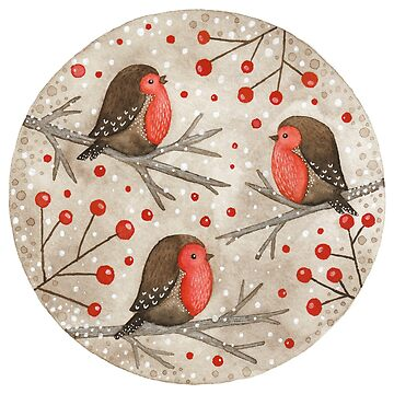 Petirrojos y bayas rojas de Laorel
