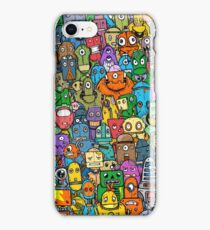 Robots in a crowd iPhone Case/Skin