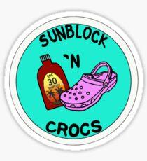 Pink Croc and sunblock Sticker
