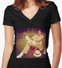 David Tennant as Fifth Doctor Women's Fitted V-Neck T-Shirt