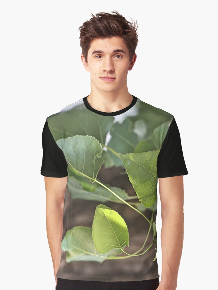 Green Leaves Bliss Graphic T-Shirt Front