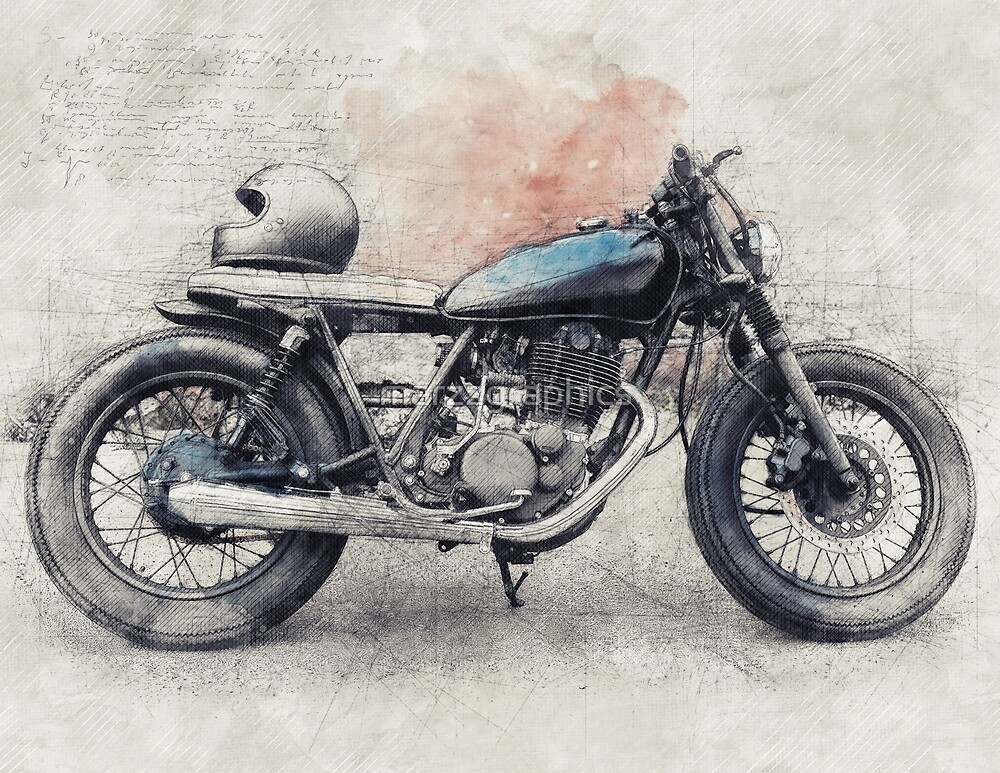 Cafe Racer, Vintage Motorcycle, Retro Motorcycle, Motorcycle, Biker Gift by marzzgraphics