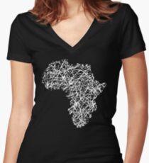 Africa Abstract Modern Art Women's Fitted V-Neck T-Shirt