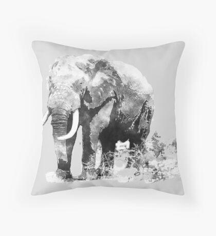 Bull Elephant in Black & white  Throw Pillow