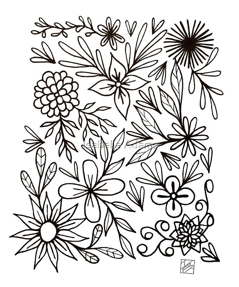 Floral Pattern Ink Drawing by Isabella Adams