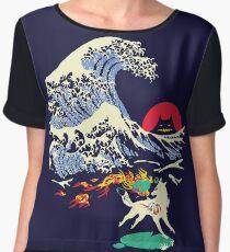 The Great Wave off Oni Island Women's Chiffon Top