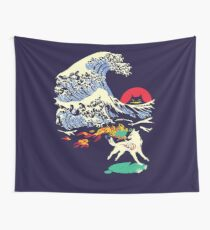 The Great Wave off Oni Island Wall Tapestry