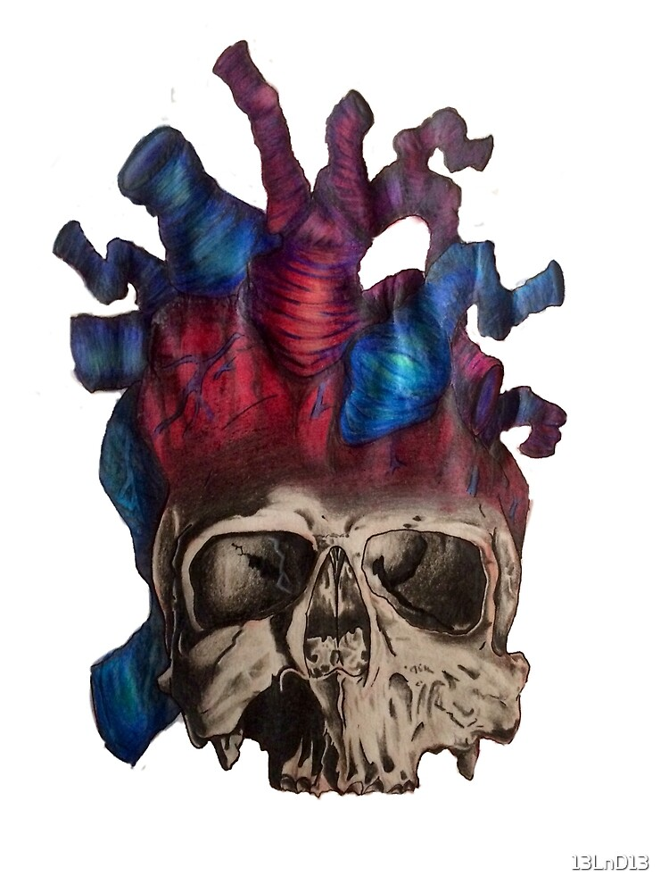 Heart Skull, think with both by 13LnD13