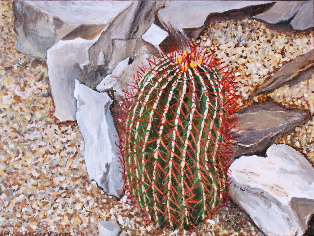 "(131) ""Red Cactus, Fort Davis, Texas.""  Acrylic on Canvas. 5-6/2017. by amyglasscockart"