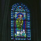 Stained Glass L'Abbaye aux Hommes Caen 19840819 0038  by Fred Mitchell