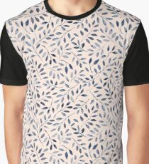 Blue grey watercolour leaves pattern Graphic T-Shirt