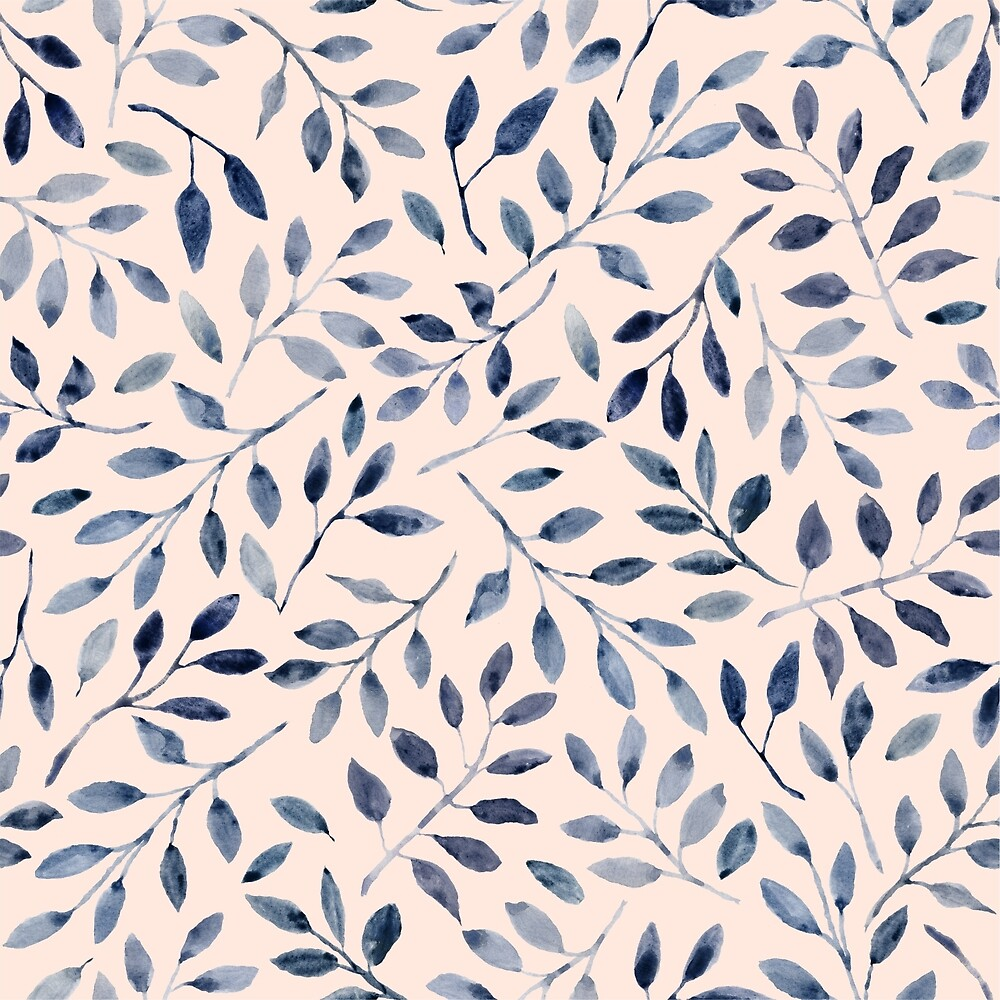 Blue grey watercolour leaves pattern by SaryandSaff
