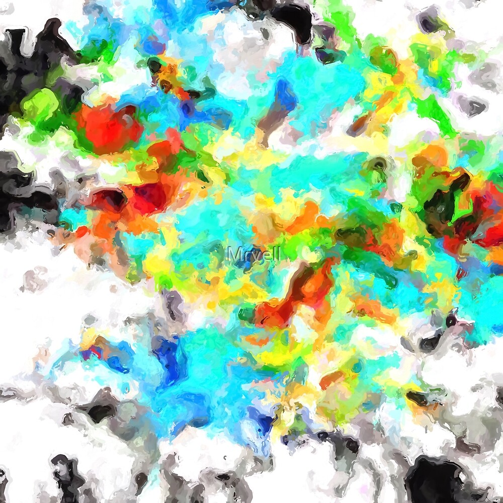 psychedelic splash painting abstract texture in blue yellow brown green black by Mrvell