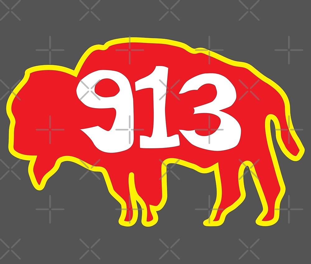 Hand Drawn Kansas Buffalo 913 Red Gold by itsrturn
