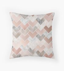 Rose Gold Marble Geometric Throw Pillow