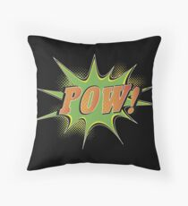 Retro POW Comic Badge Throw Pillow