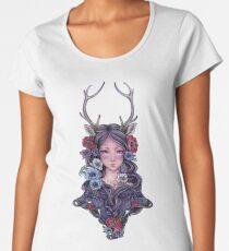 Dark Faun Girl with Flowers Women's Premium T-Shirt