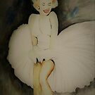 White DressWatercolour - Marilyn by Trish Loader