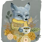 Gray Fox with Mug by denadraws