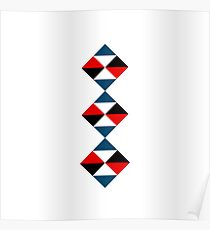 Premium Triangle Pillow  - Red/Blue/Black  Poster