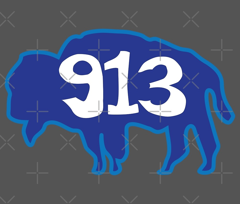 Hand Drawn Kansas Buffalo 913 Royal Blue by itsrturn