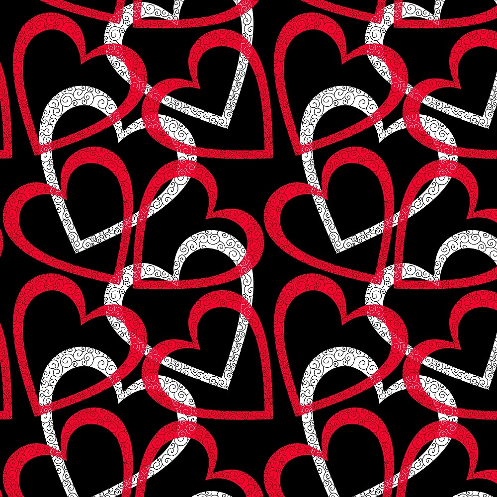 Scattered Red & White Hearts on Black Background by Elaine Plesser