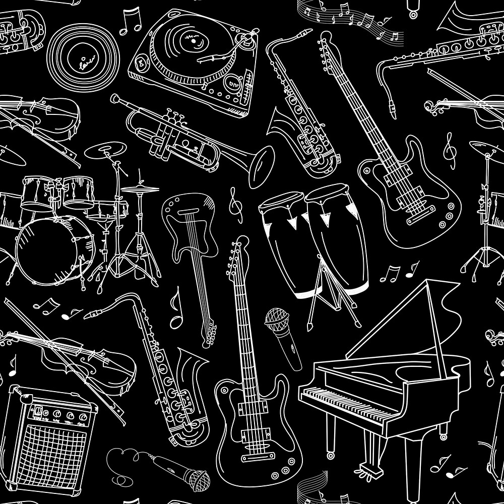 White Sketches of Musical Instruments on Black Background by Elaine Plesser