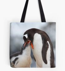 "Gentoo Penguin and Chick ~ ""Meals Home Delivered"" Tote Bag"