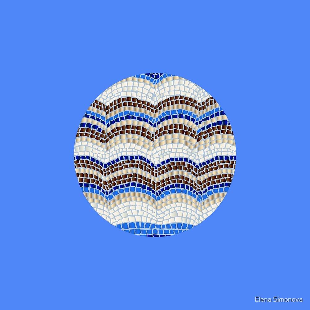 Round Blue Mosaic on Blueberry by Elena Simonova