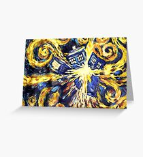 Exploding TARDIS Painting by Van Gogh Greeting Card