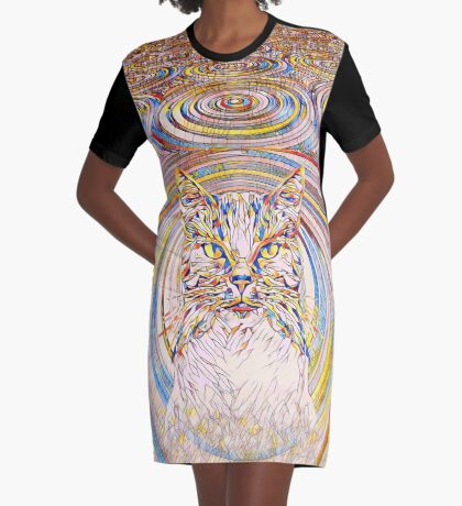 Abstract Cat Graphic T-Shirt Dress