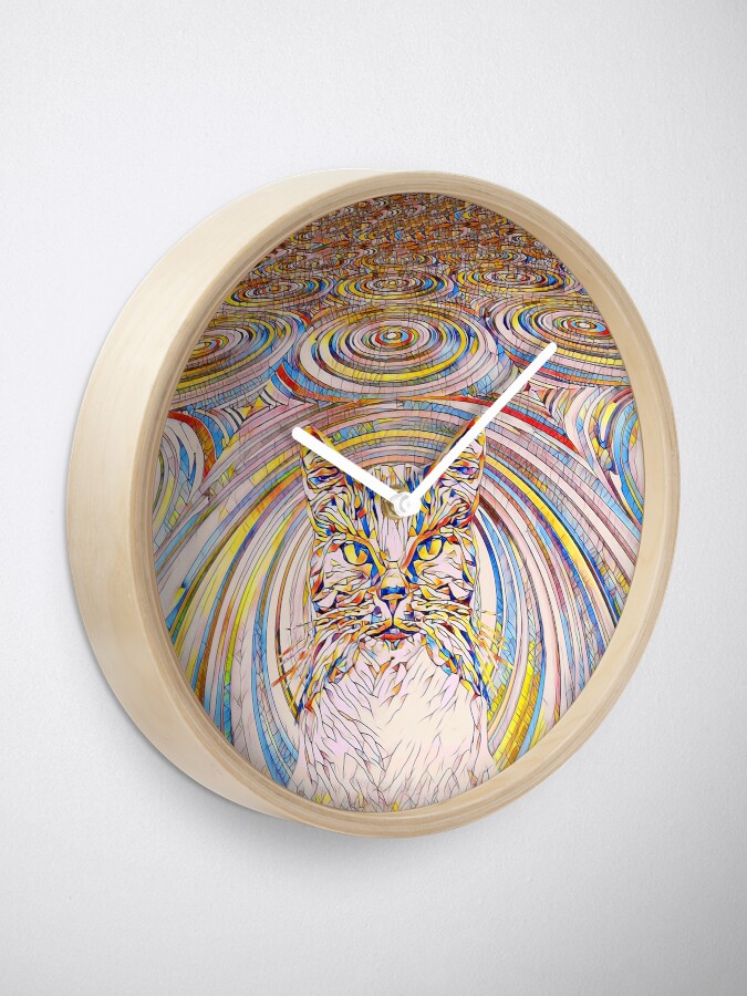 Alternate view of Abstract Cat Clock