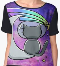 Cool Space T-Shirt - Vintage Hipster Moon Cat Women's Chiffon Top