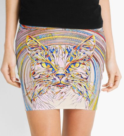 Abstract Cat Mini Skirt