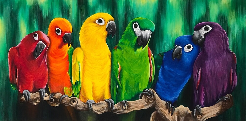 Polychrome Parrots  by lukekellyart