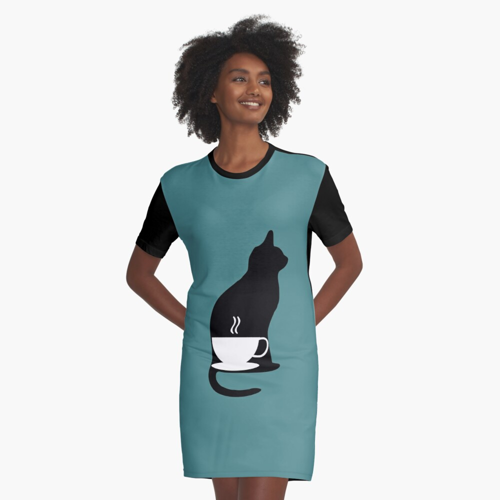 Coffee and Cats Graphic T-Shirt Dress Front