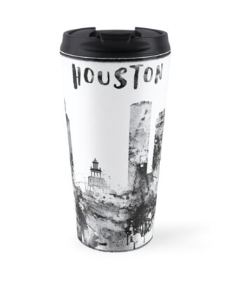Black and white watercolor Houston skyline by IvonDesign