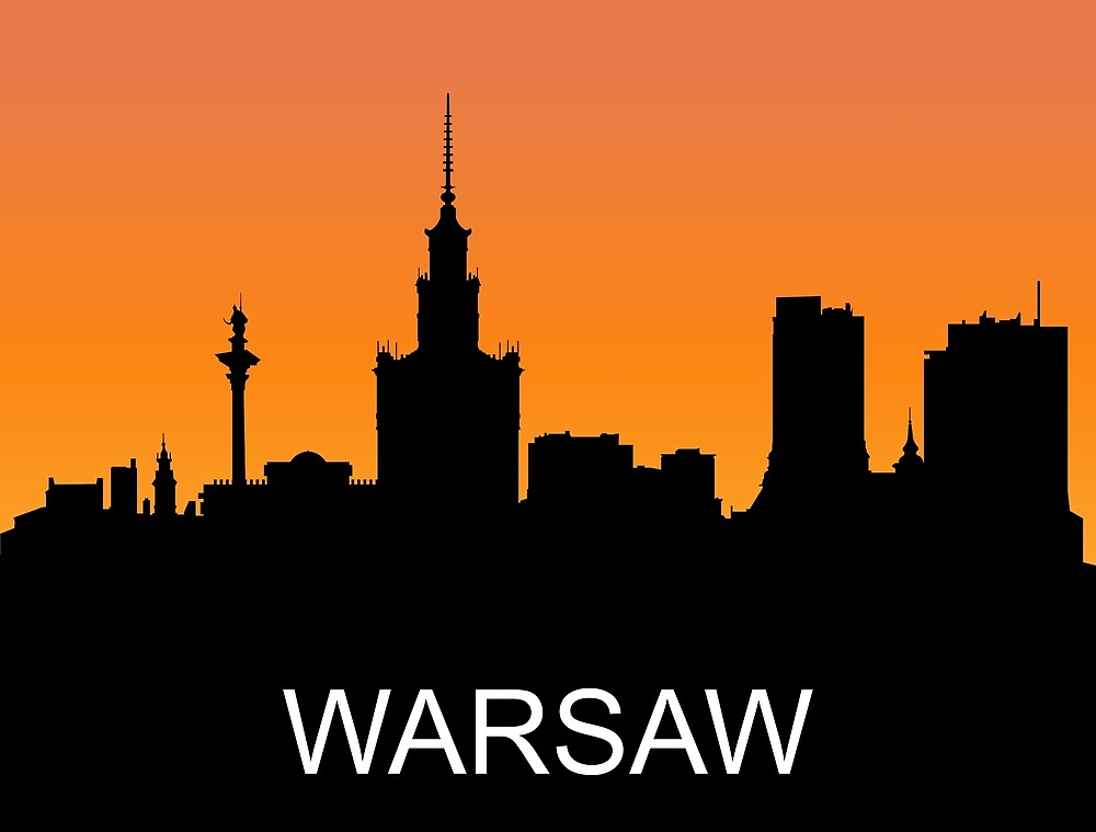 Warsaw, Poland, romantic sunset, travel sticker by AmorOmniaVincit