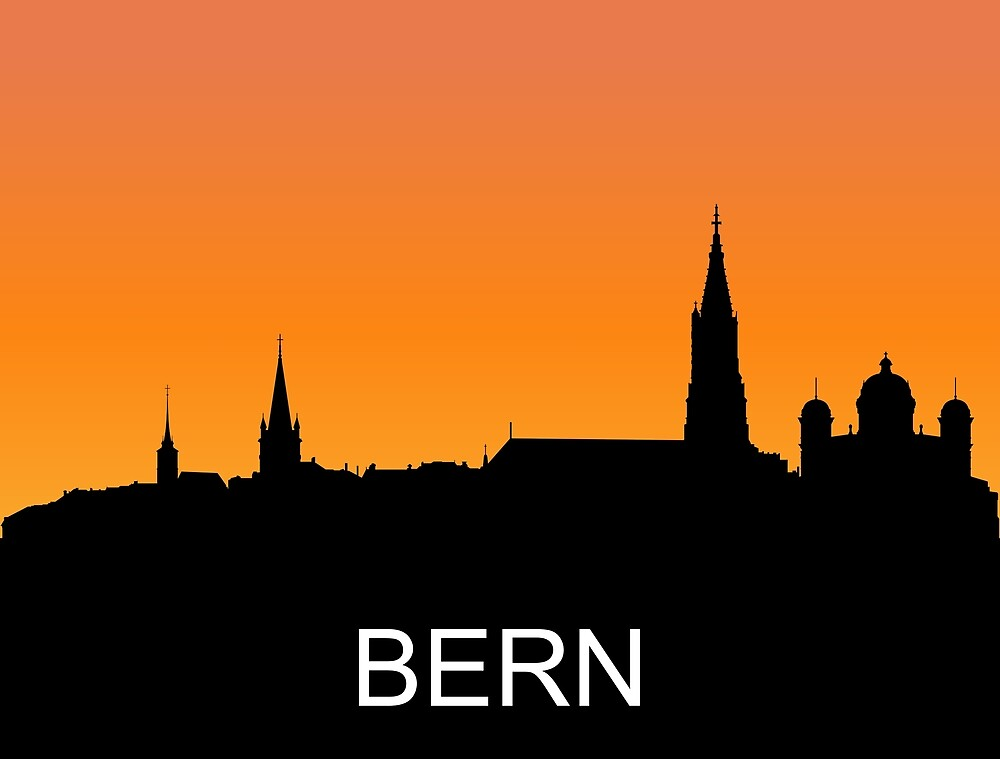 Bern, Switzerland, romantic sunset, travel sticker by AmorOmniaVincit