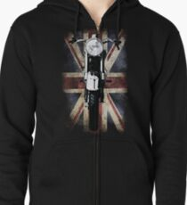 Classic British BSA Motor Cycle Tee Zipped Hoodie