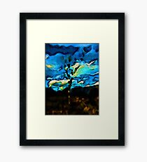 Gold Landscape with Tree and Blue Sky Framed Print
