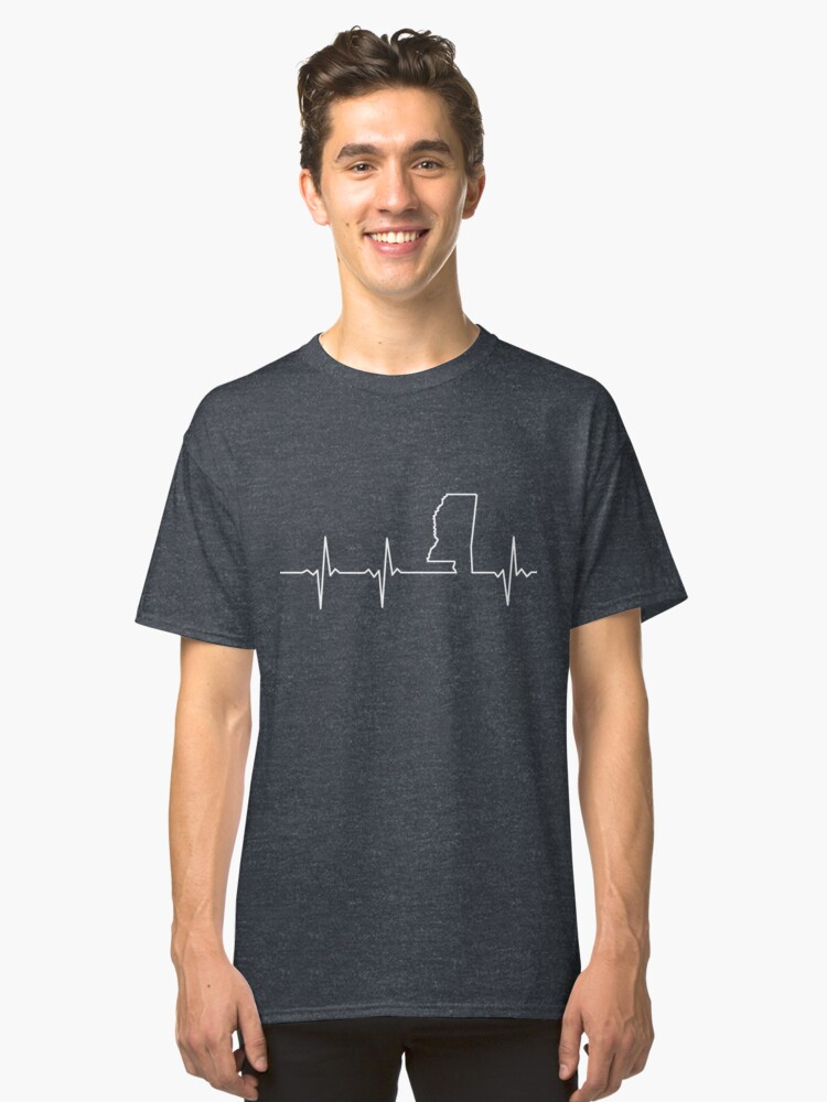 Heartbeat Mississippi Classic T-Shirt Front