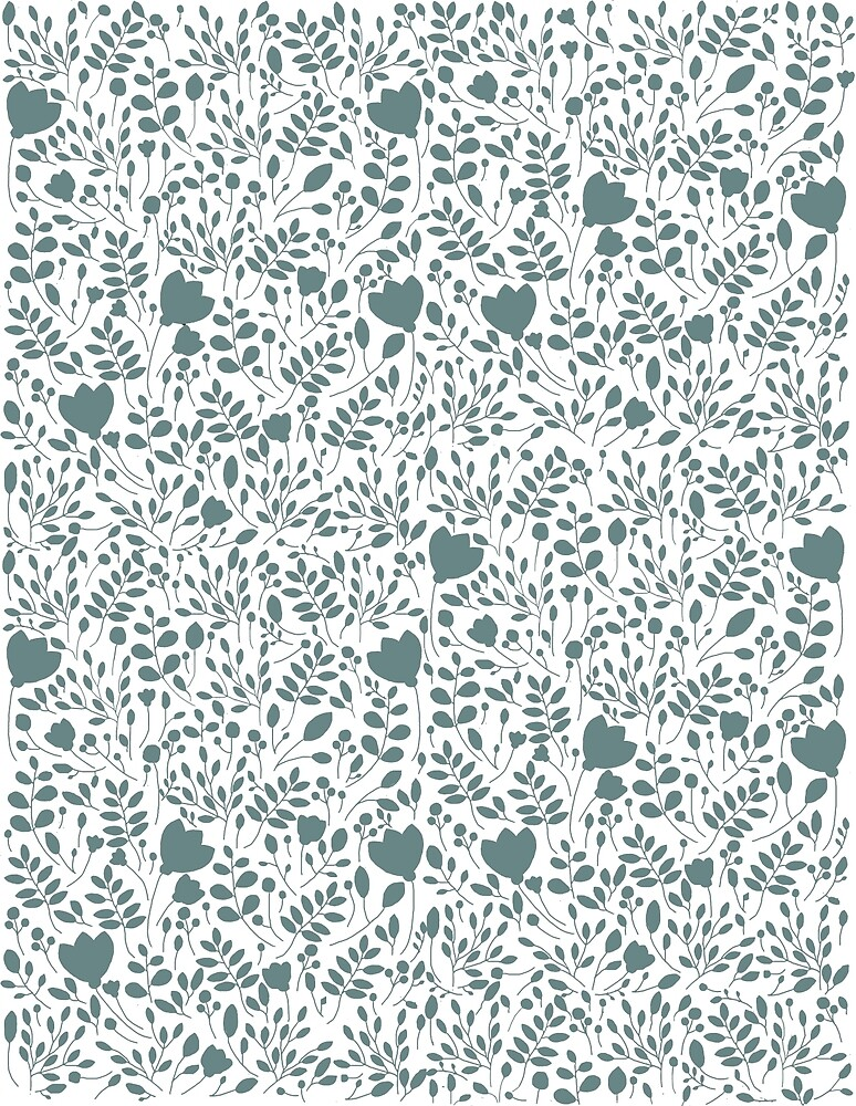Teal Floral Design by emily  gaskin