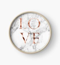 Rose gold marble LOVE Clock