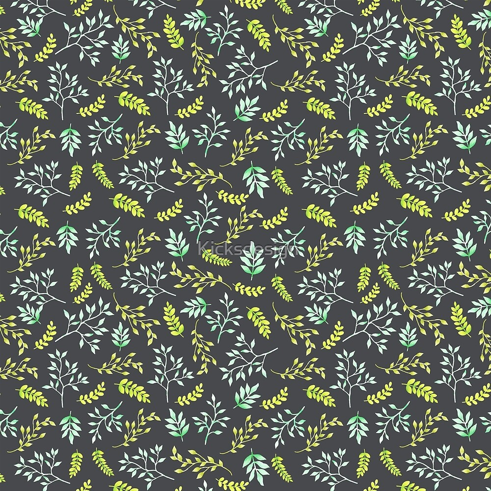 Modern lime green yellow black botanical floral by Maria Fernandes