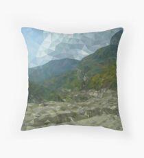 Mountain landscape in polygon technique Throw Pillow