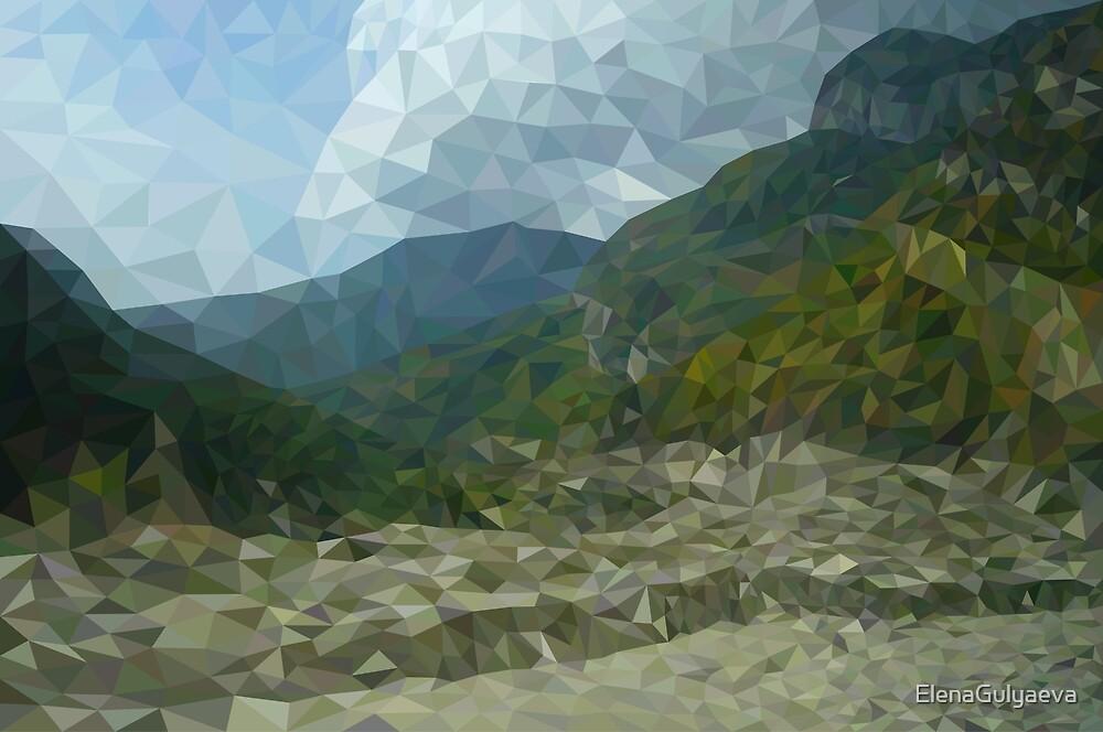 Mountain landscape in polygon technique by ElenaGulyaeva