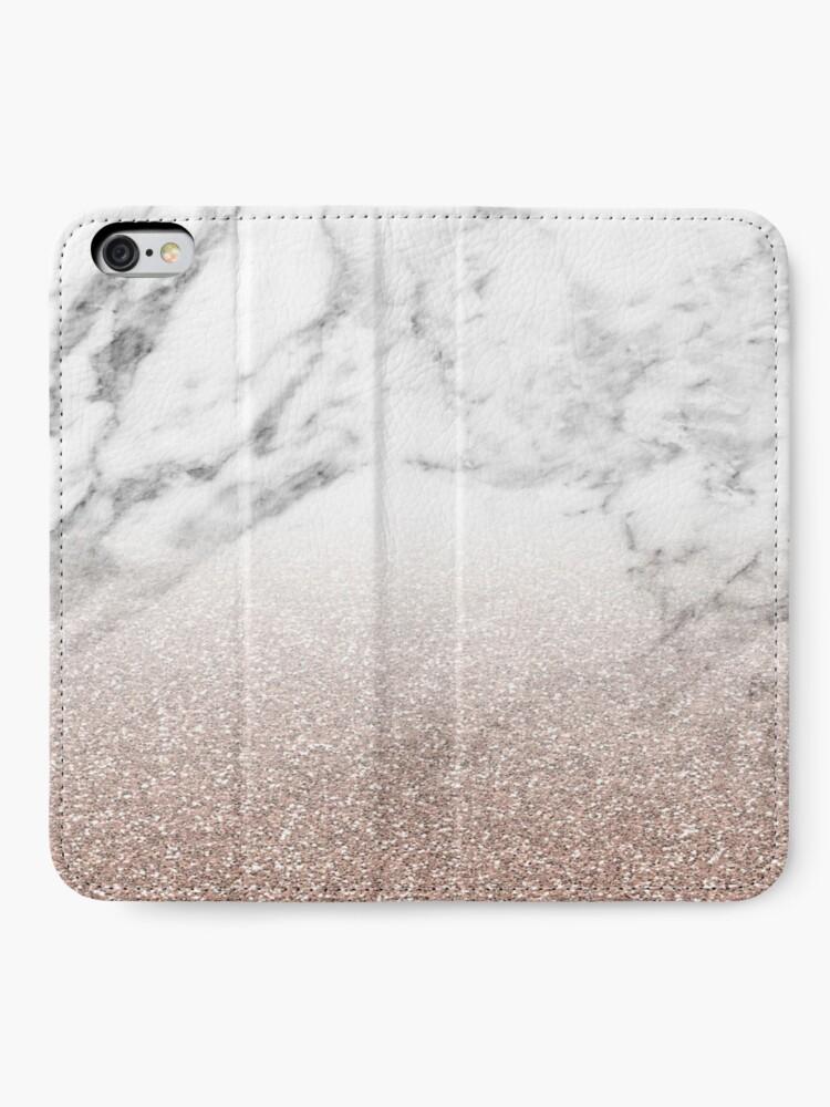 Alternative Ansicht von Rose Gold Glitter auf Marmor iPhone Flip-Case