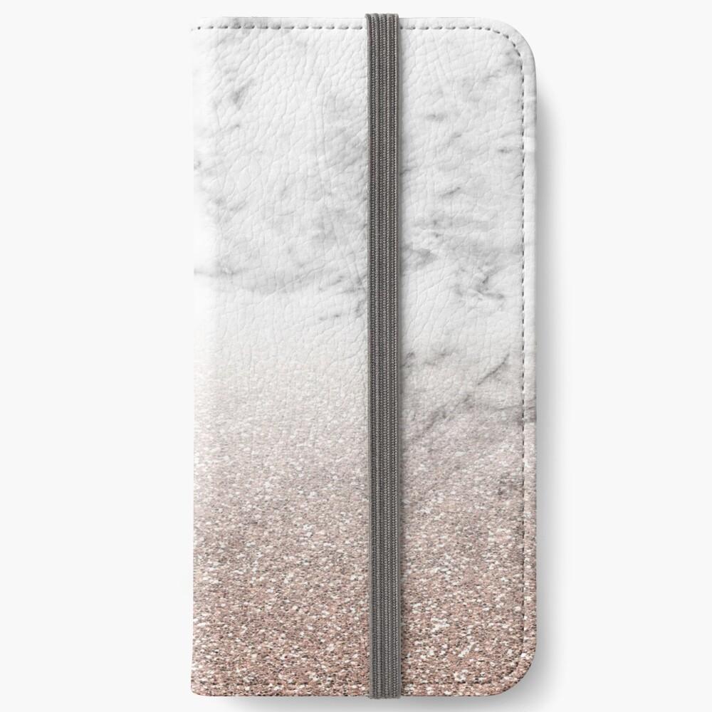 Rose Gold Glitter auf Marmor iPhone Flip-Case